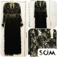 Шикарное вечернее платье чёрного цвета с ручной вышивкой из жемчуга.